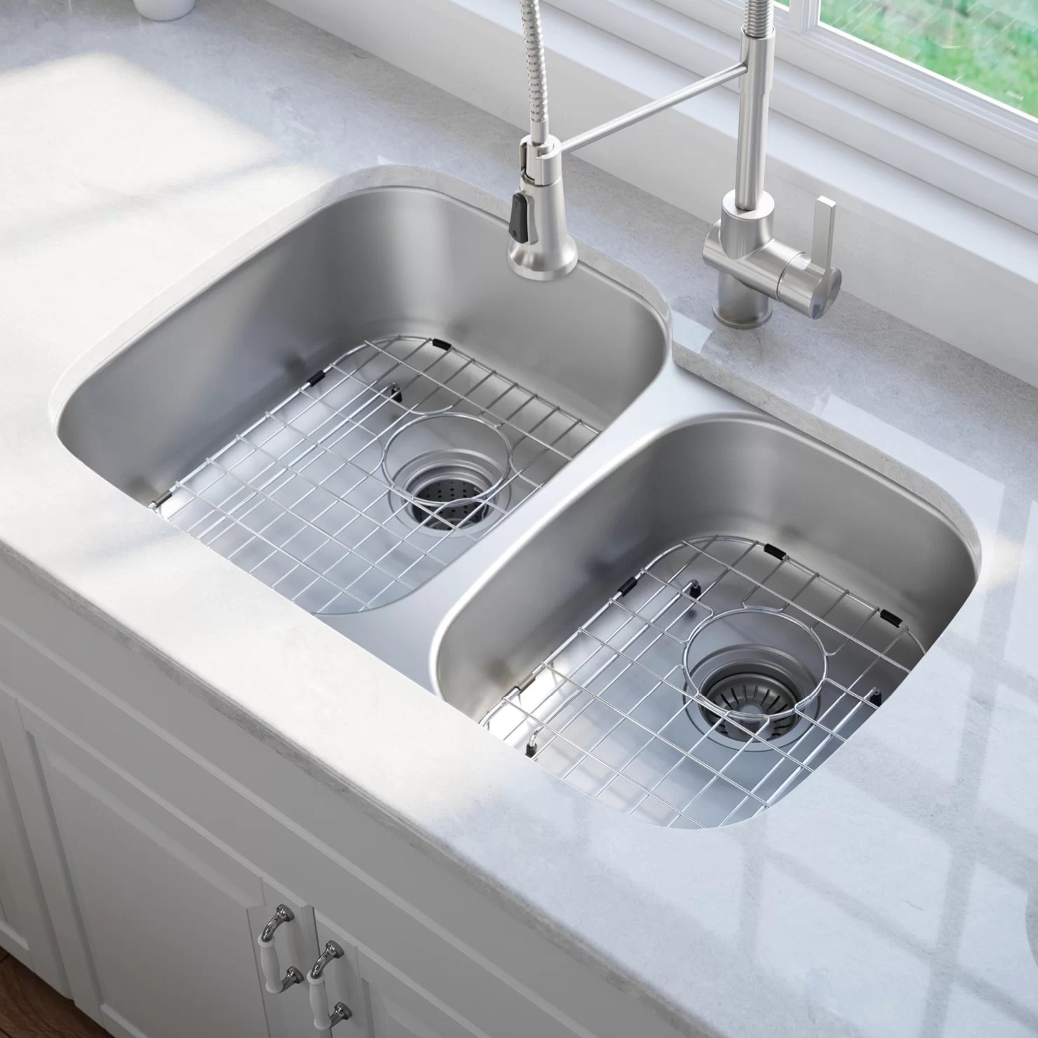 kraus kitchen sinks subway tile for kbu23 32 x 20 double basin undermount sink with noisedefend soundproofing