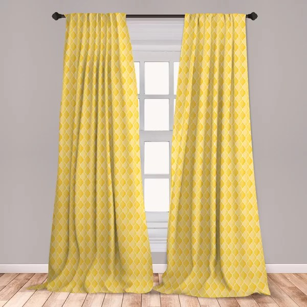 ambesonne yellow window curtains moroccan trellis pattern in yellow tones vintage eastern pattern lightweight decorative panels set of 2 with rod
