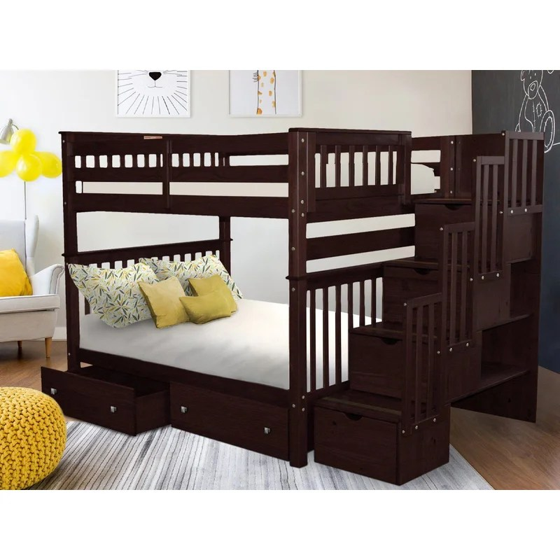 Tena Full Over Full Bunk Bed with Shelves and 6 Drawers