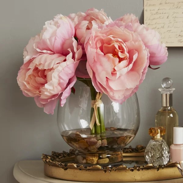 Ophelia Amp Co Peonies In A Glass Vase With River Rocks And Faux Water Amp Reviews Wayfair