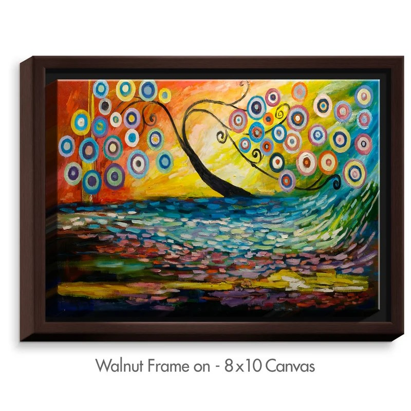 Abstract Blossom III by Lam Fuk Tim Painting Print on Wrapped Framed Canvas Size: 31.75 H x 41.75 W x 1.75 D Frame Color: Walnut