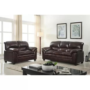 2 piece brown leather sofa suede cleaning s living room sets you ll love wayfair quickview