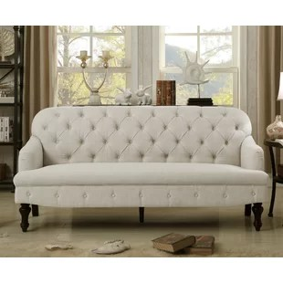 french linen tufted sofa motorized recliner furniture throws wayfair fonzo
