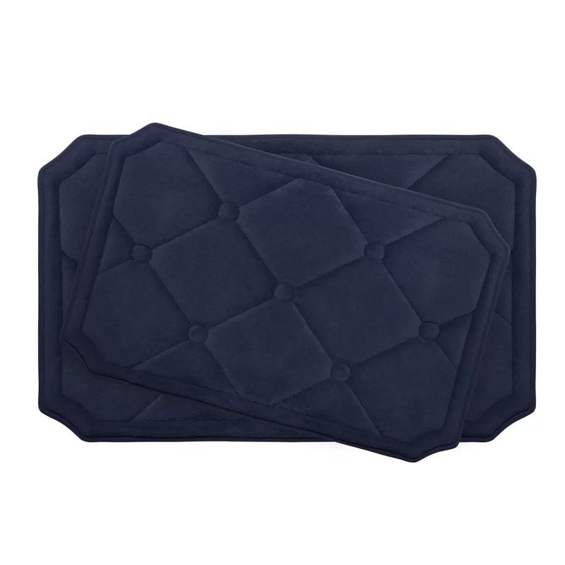 Gertie Large 2 Piece Premium Micro Plush Memory Foam Bath Mat Set Color: Indigo