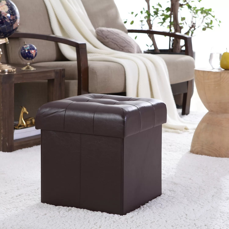 Winston Porter Lambertville Foldable Tufted Square Cube Foot