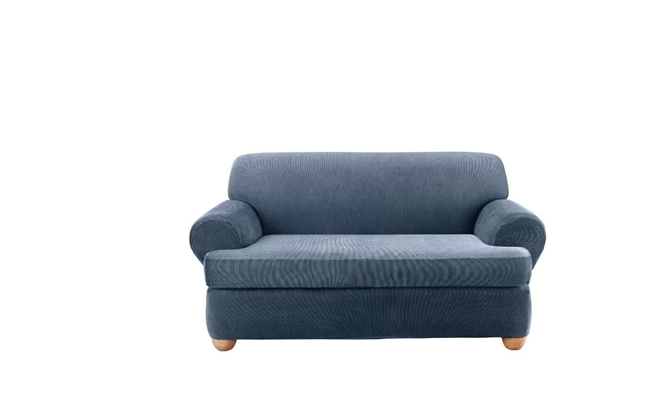 sure fit stretch stripe 2 piece sofa slipcover sand how much does it cost to have a cleaned t cushion loveseat