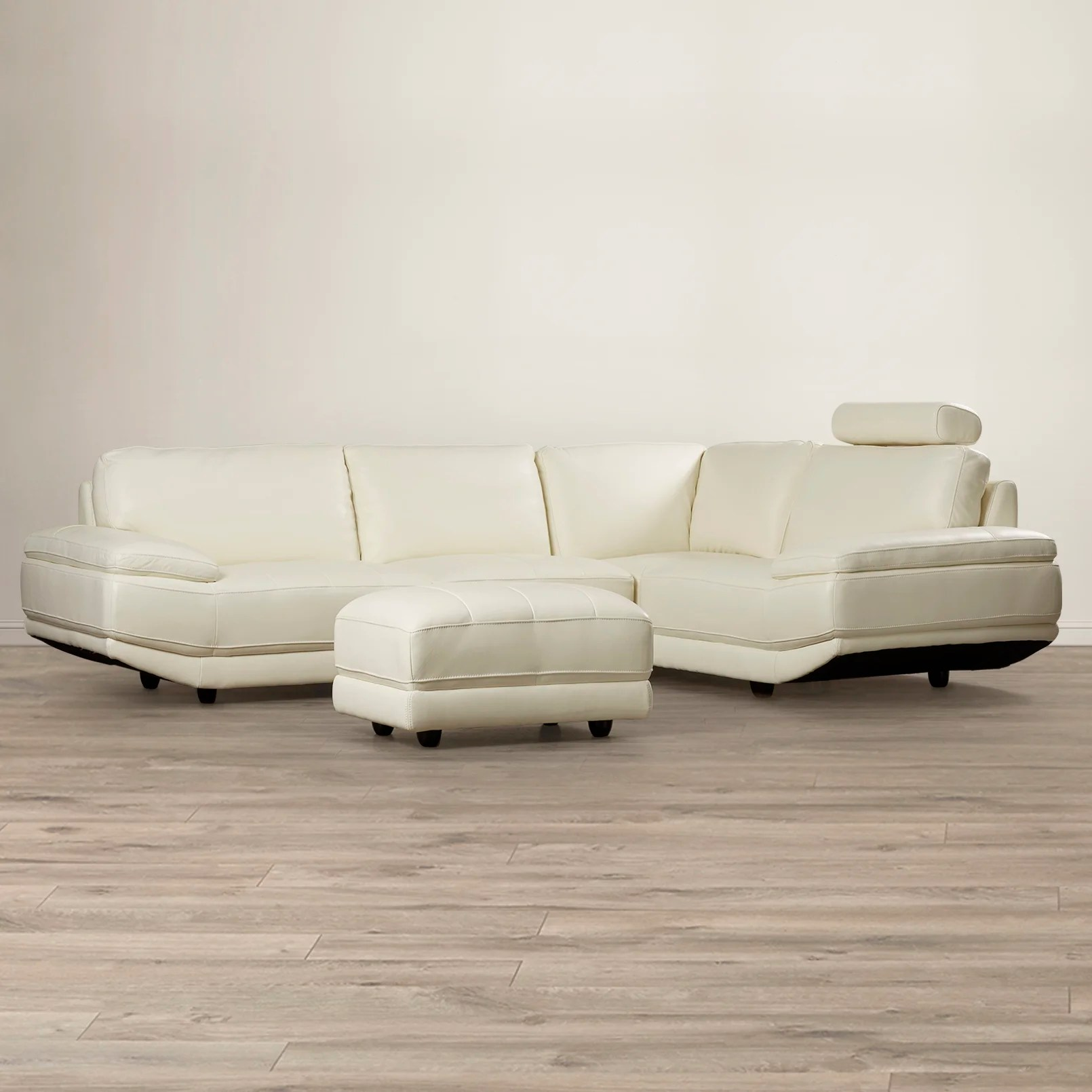 white leather sectional sofa with ottoman www scs beds orren ellis cana wayfair