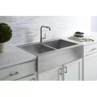 kitchen sink farmhouse shaker style farm wayfair vault 36 l x 24 w double basins