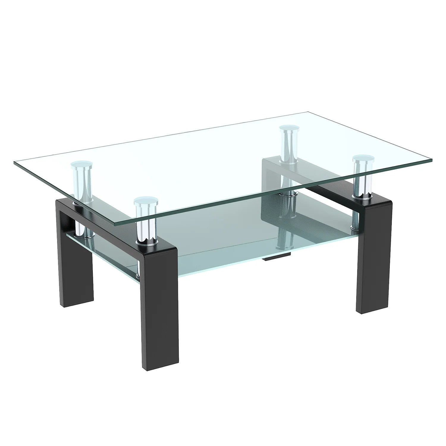 coffee table rectangle glass modern coffee table with shelf wood legs suit for living room living room furniture waiting area table black