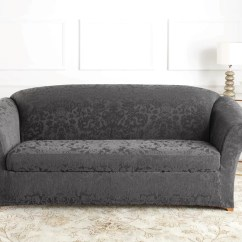 Sofa Box Cushion Covers Simmons 9222dn Encore Brown Leather Sectional Ottoman Nailheads Sure Fit Stretch Jacquard Damask