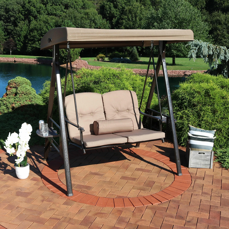 thaddeus 2 person adjustable tilt canopy patio loveseat porch swing