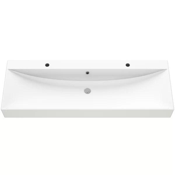 double faucet trough sink