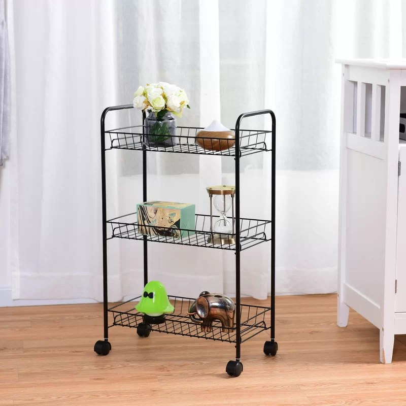 kitchen trolley cheap table sets for sale costway 3 tier rolling utility cart wire storage shelf baskets