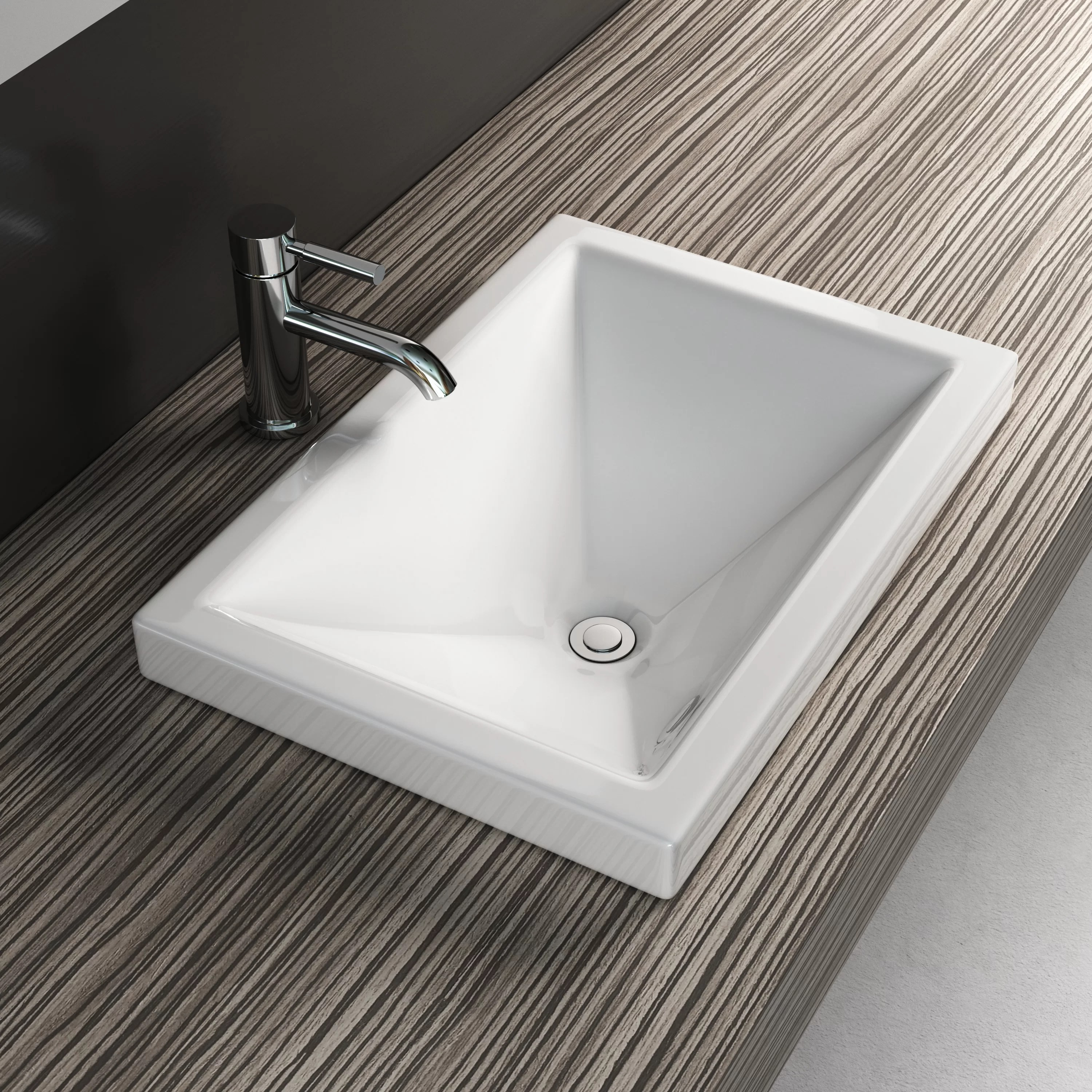vitreous china rectangular drop in bathroom sink with overflow