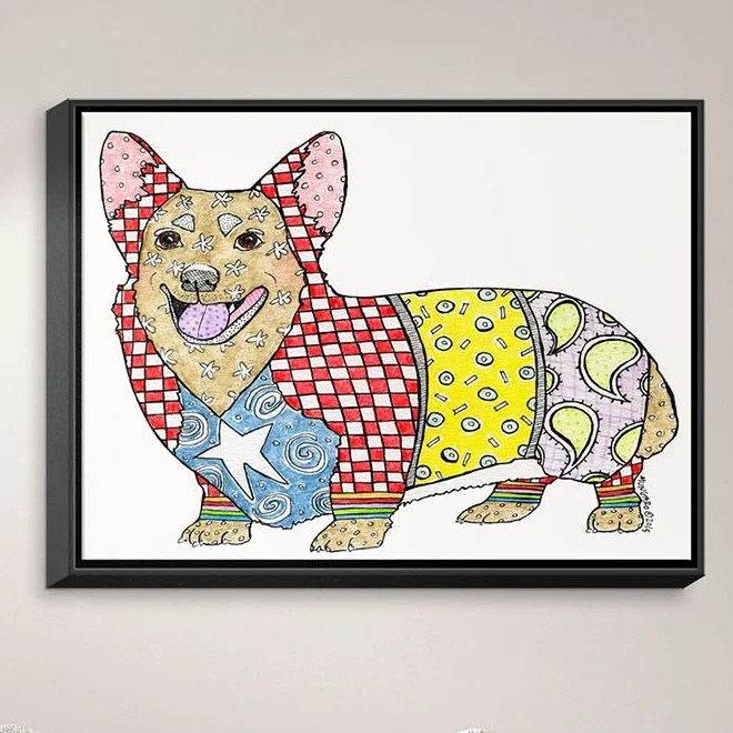 Corgi by Marley Ungaro Painting Print on Wrapped Framed Canvas Size: 25.75 H x 37.75 W x 1.75 D Frame Color: Black