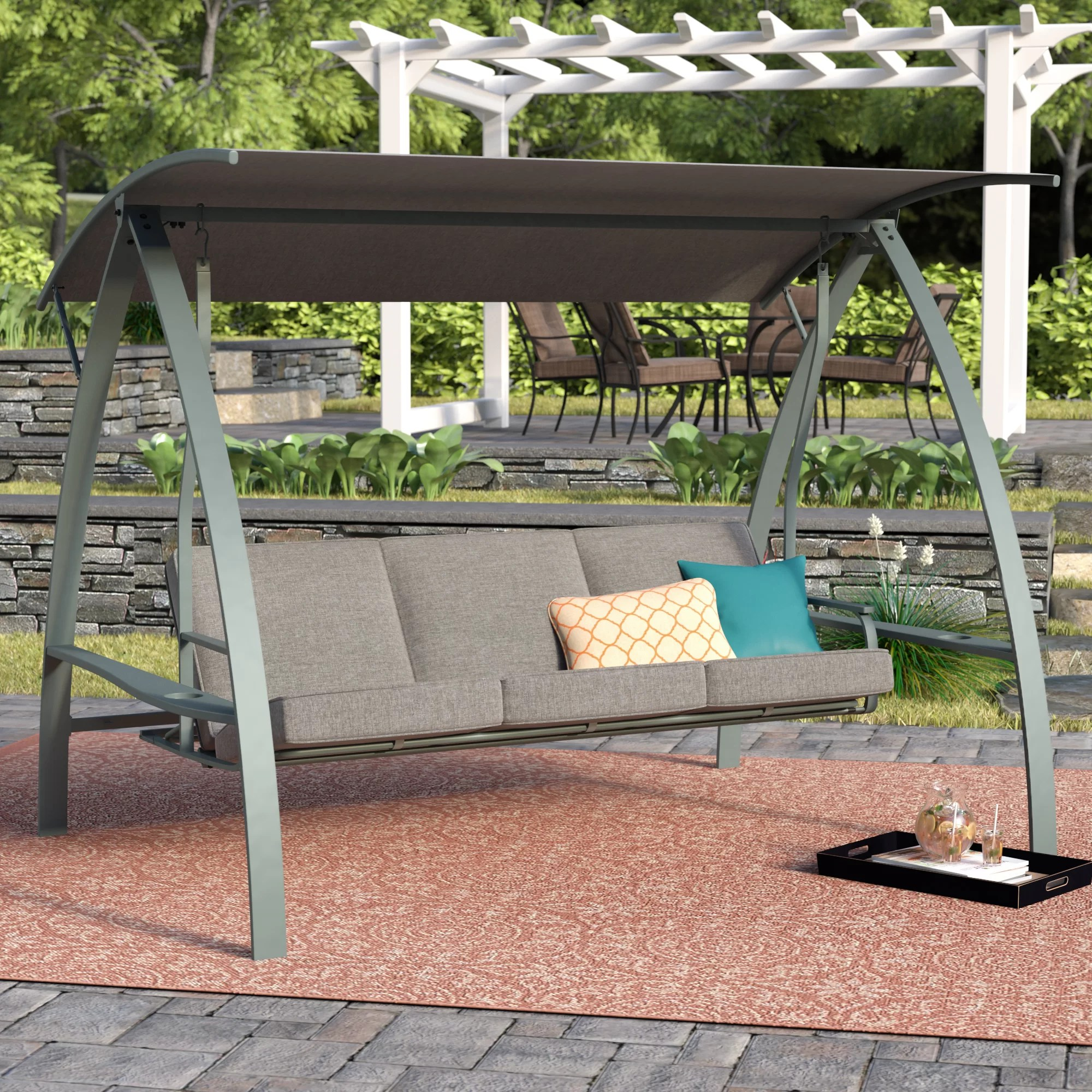 outdoor 3 seat porch swing with canopy