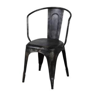 metal bistro chairs cigar lounge black wayfair distressed chair