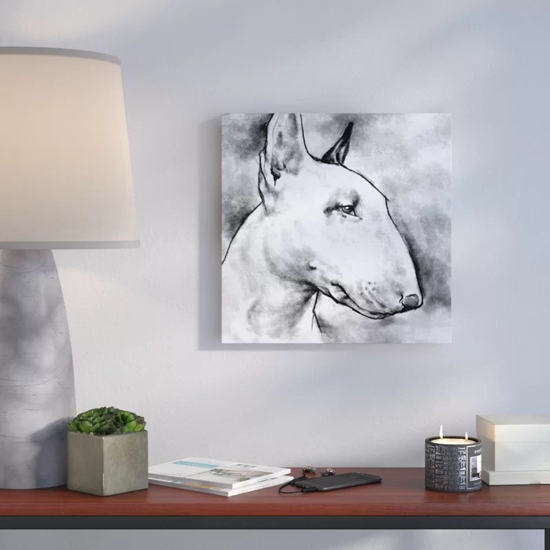 Bull Terrier Painting Print on Wrapped Canvas Size: 43 H x 43 W x 2 D