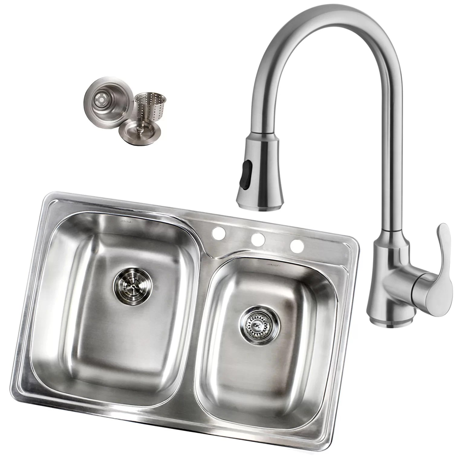 Tools Home Improvement 33 Inch Top Mount Drop In Stainless Steel 70 30 Double Bowl Kitchen Sink With 3 Faucet Holes 18 Gauge Double Bowl