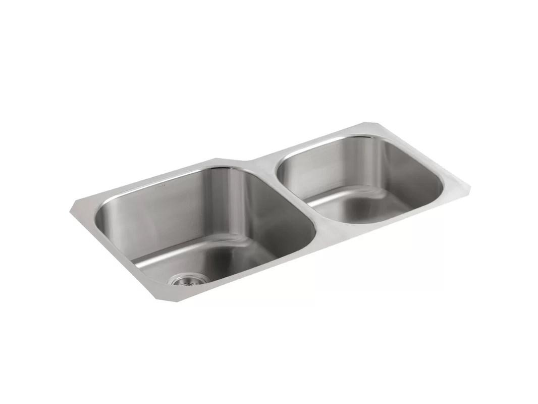 extra large kitchen sinks double bowl under cabinet led lighting k 3356 hcf na kohler undertone preserve 35 1 8 quot x 20