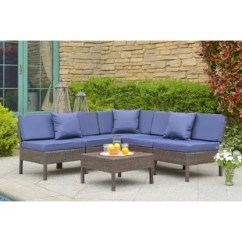 Navy Blue Patio Chair Cushions Flip Walmart Wayfair Mccubbin 6 Piece Rattan Sectional Seating Group With