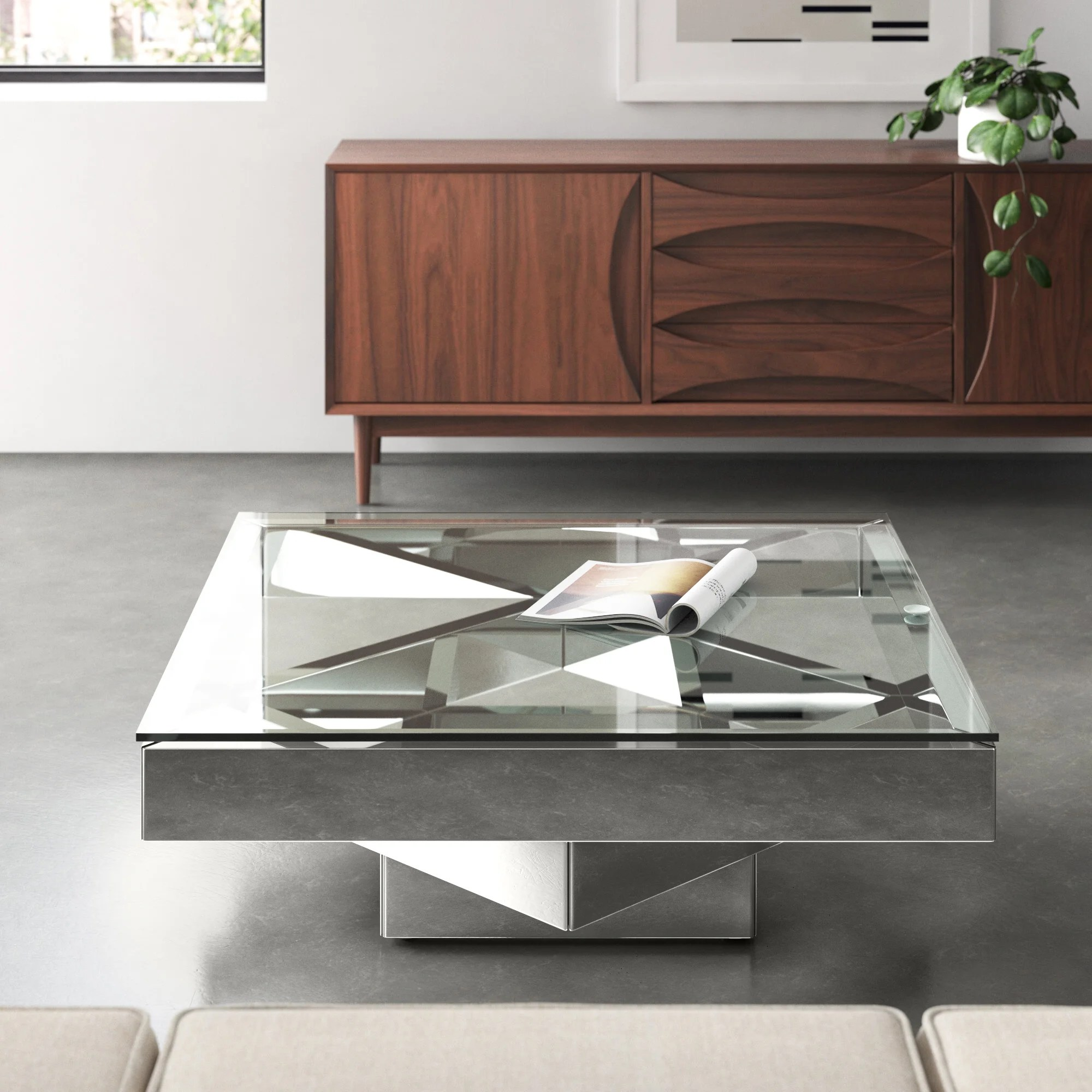ulibarri modern square glass and mirror coffee table
