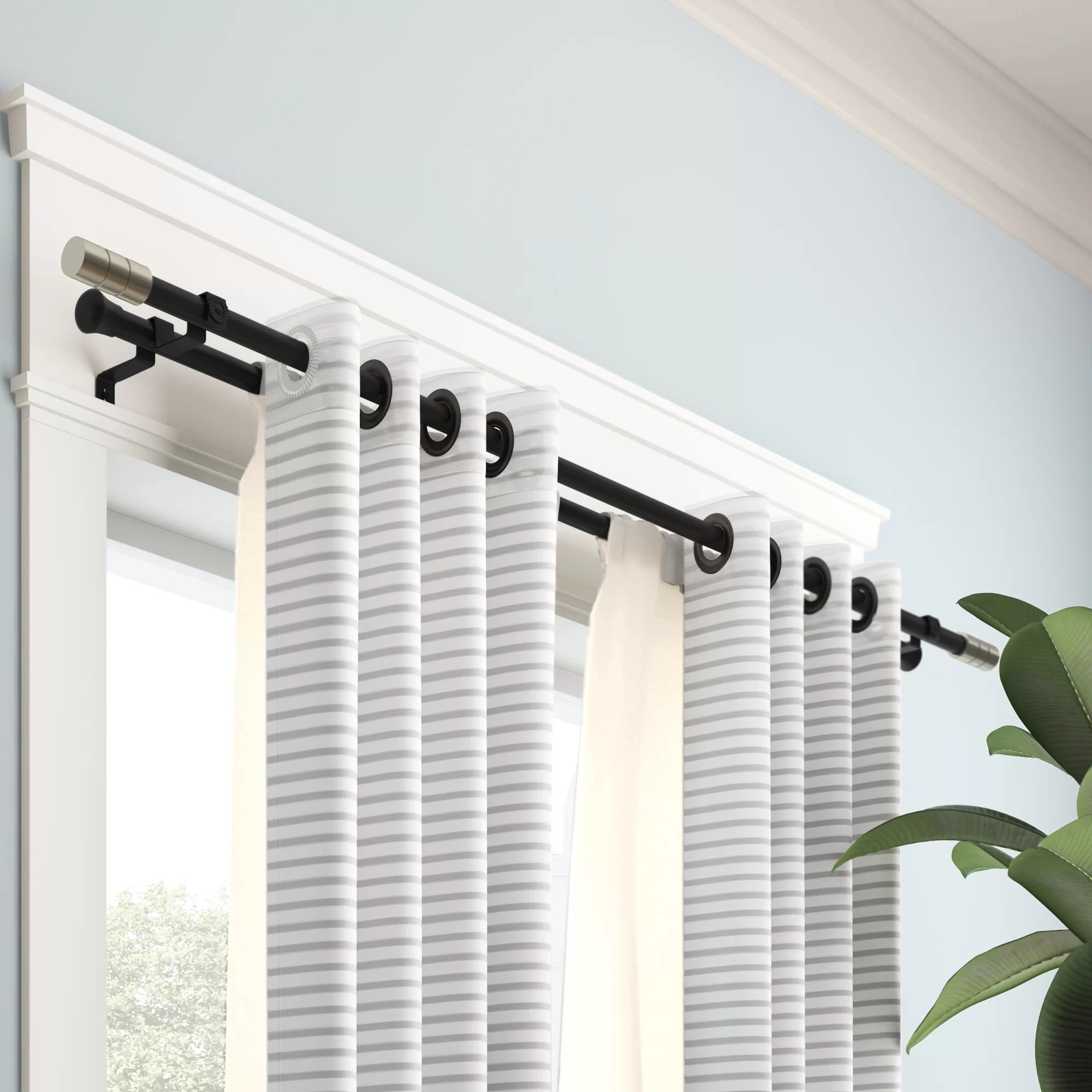 white 28 48 bali blinds double curtain rod
