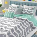 Reversible Blue Grey White Teal Aqua Chevron Stripe Soft Pillow Comforter Set