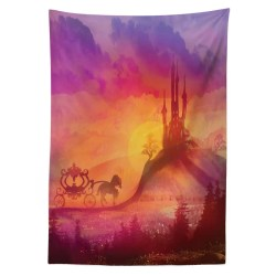 East Urban Home Ambesonne Fantasy Tablecloth Fantasy Gothic Medieval Castle And Carriage With Horse Imaginary Kingdom Print Rectangular Table Cover For Dining Room Kitchen Decor 52 X 70 Purple Orange Wayfair