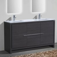 "Mercury Row Bosley 60"" Double Sink Modern Bathroom Vanity ..."