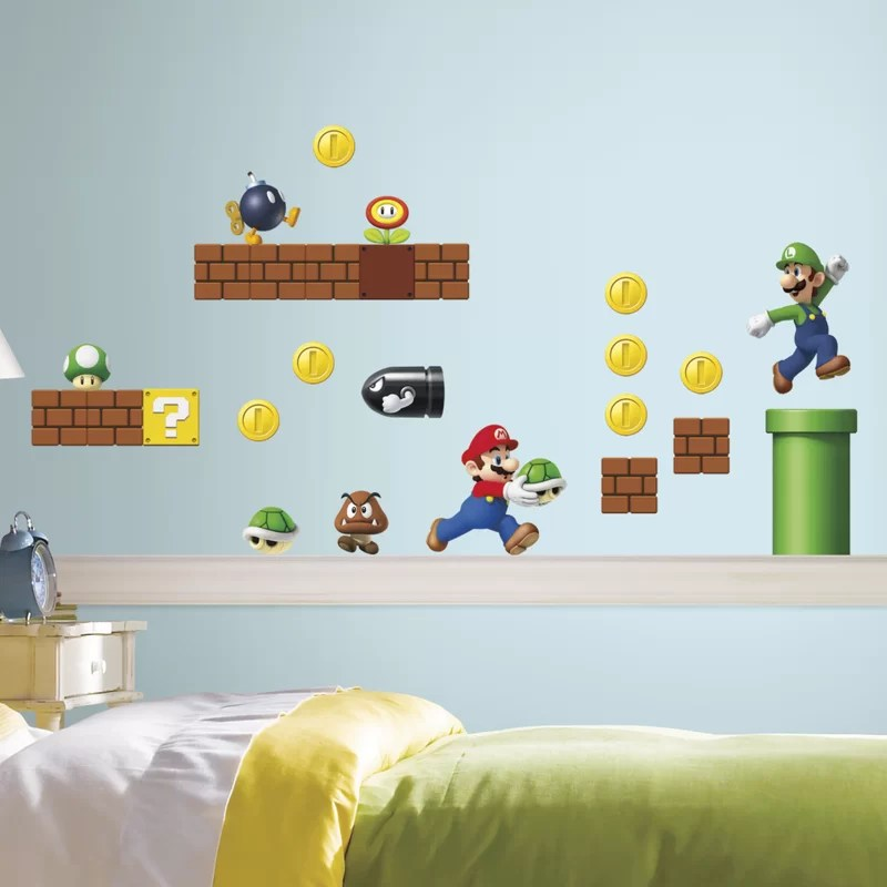 room mates nintendo piece super mario wall decal reviews wayfair