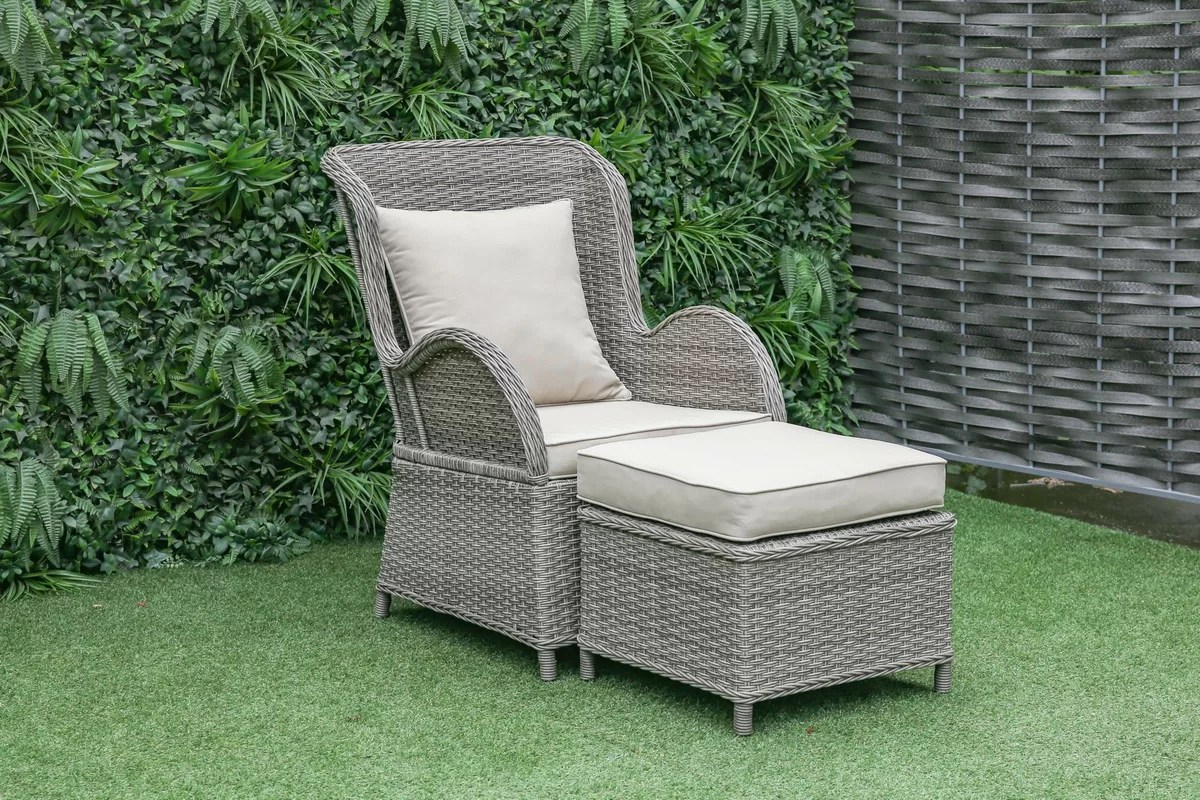 Patio Chairs With Ottoman One Allium Way Silke Outdoor Patio Chair And Ottoman With