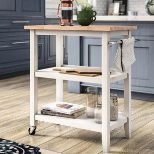 kitchen workbench miami cabinets wayfair raabe cart with wood top