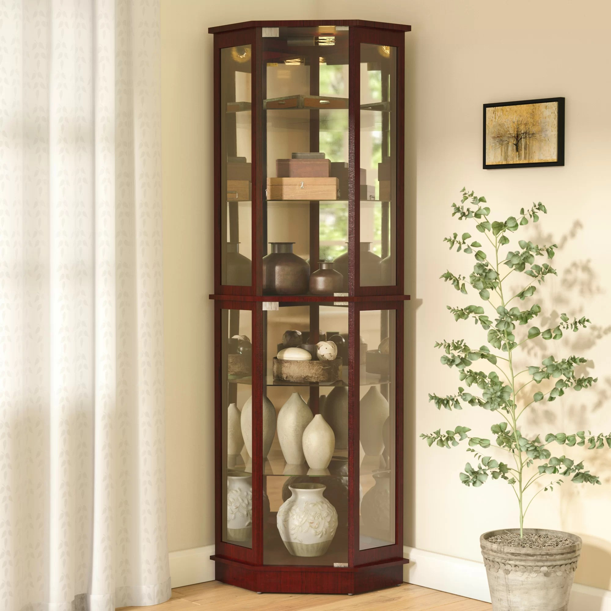 Andover Mills Biali Lighted Corner Curio Cabinet  Reviews