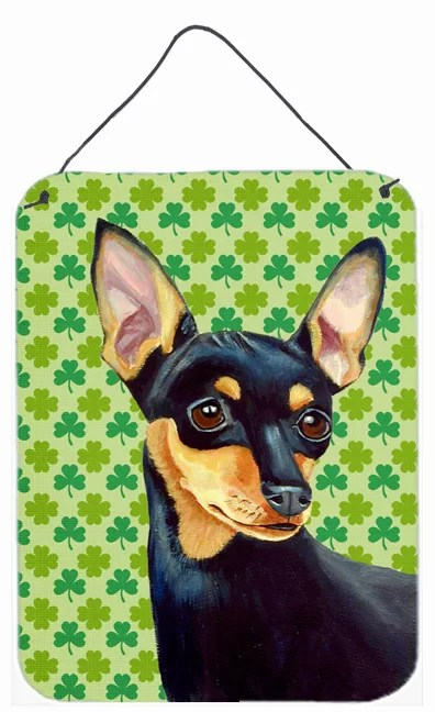 Min Pin Shamrock Portrait by Lyn Cook Graphic Art Plaque