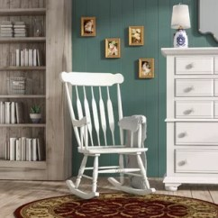 White Wood Rocking Chair Swivel Chairs Upholstered You Ll Love Wayfair Quickview