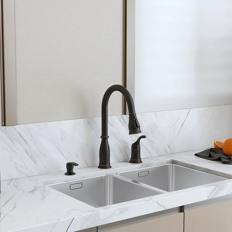pull down single handle kitchen faucet with soap dispenser