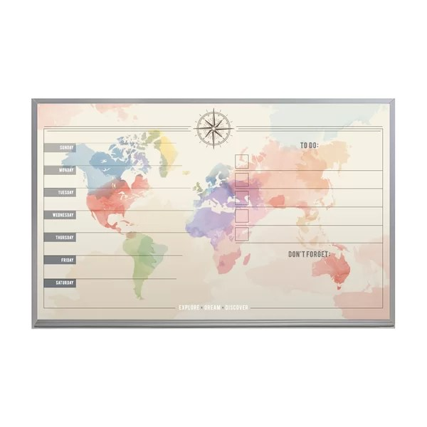 World Map Weekly Planner Satin Aluminum Frame Magnetic ...
