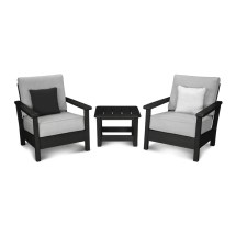 Polywood Harbour 3 Piece Sunbrella Conversation Set With