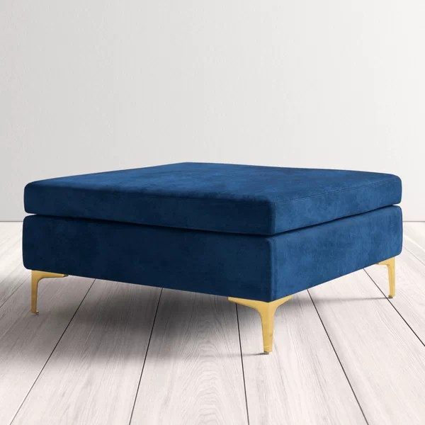 modern contemporary navy blue ottoman