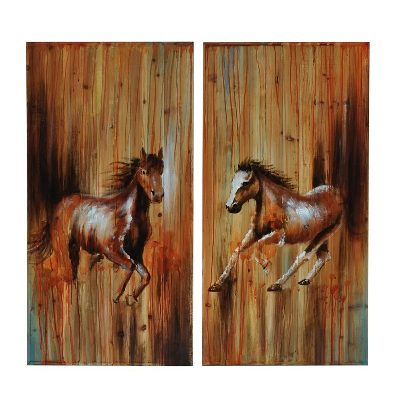 Full Gallop 1 & 2 2 Piece Painting Print on Canvas Set