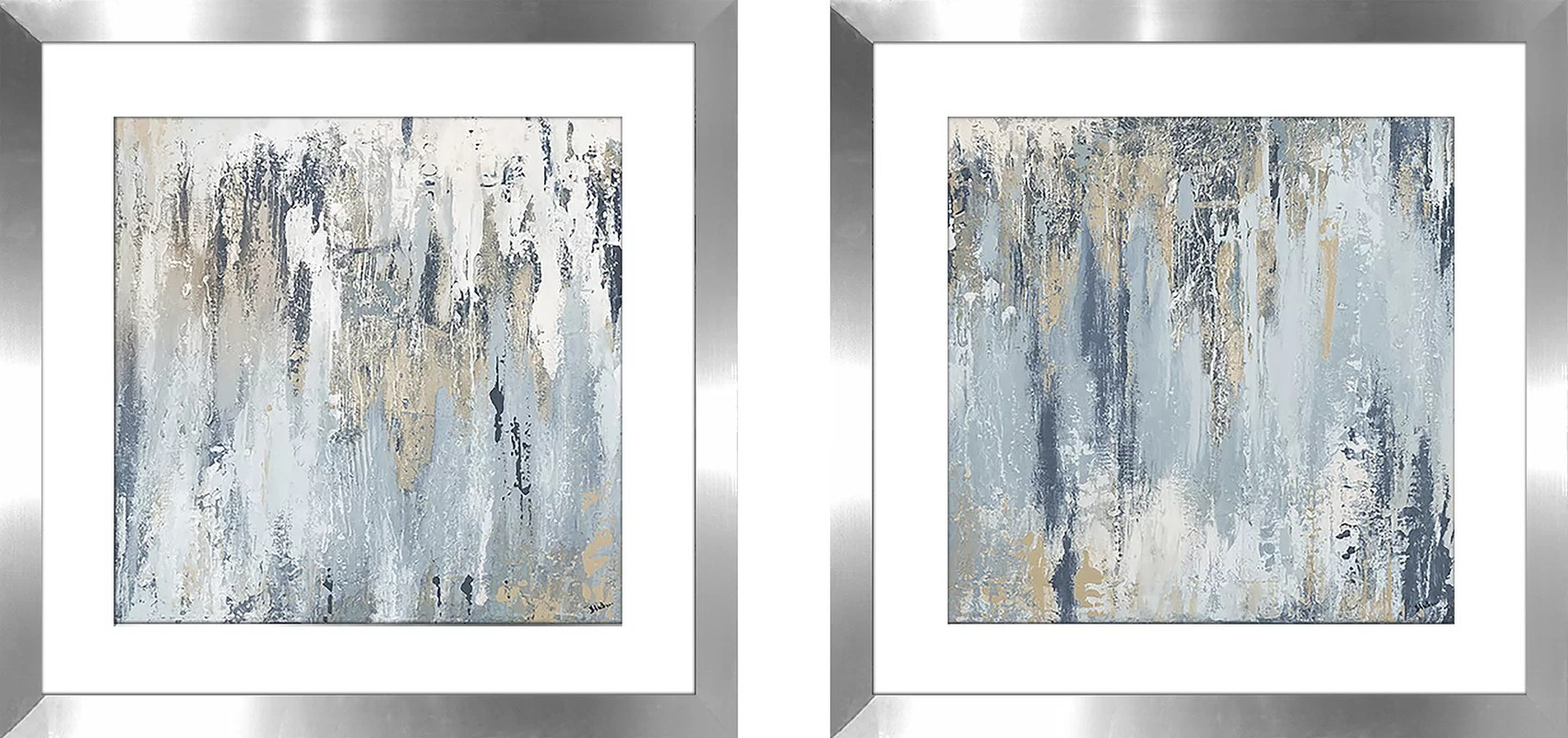 Ivy Bronx Blue Illusion Square I 2 Piece Framed Acrylic