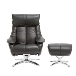 Recliner Vs Chair With Ottoman Used Barber For Sale Orren Ellis Kagan Leather Manual Swivel Wayfair