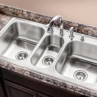 triple kitchen sink salvaged cabinets for sale basin wayfair premiere gourmet topmount bowl