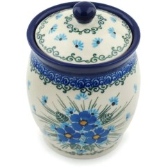 Kitchen Pottery Canisters Cabinet Feet Polmedia Polish Forget Me Not With Lid Canister