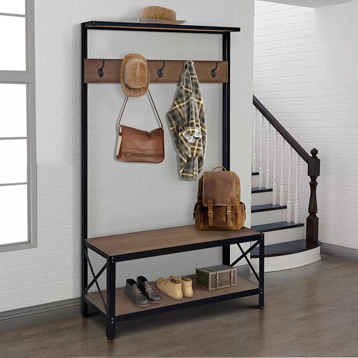 entryway wall shelf hall bench coat