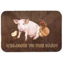 Pig Kitchen Tile For Decor Wayfair Welcome To The Farm With And Chicken Bath Mat