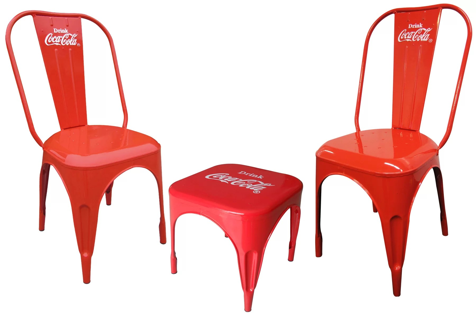 coca cola chairs and tables antique childs rocking chair value leighcountry retro cafe 3 piece bistro set wayfair