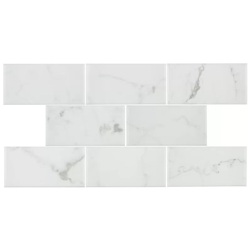 karra carrara 3 x 6 ceramic stone look subway tile