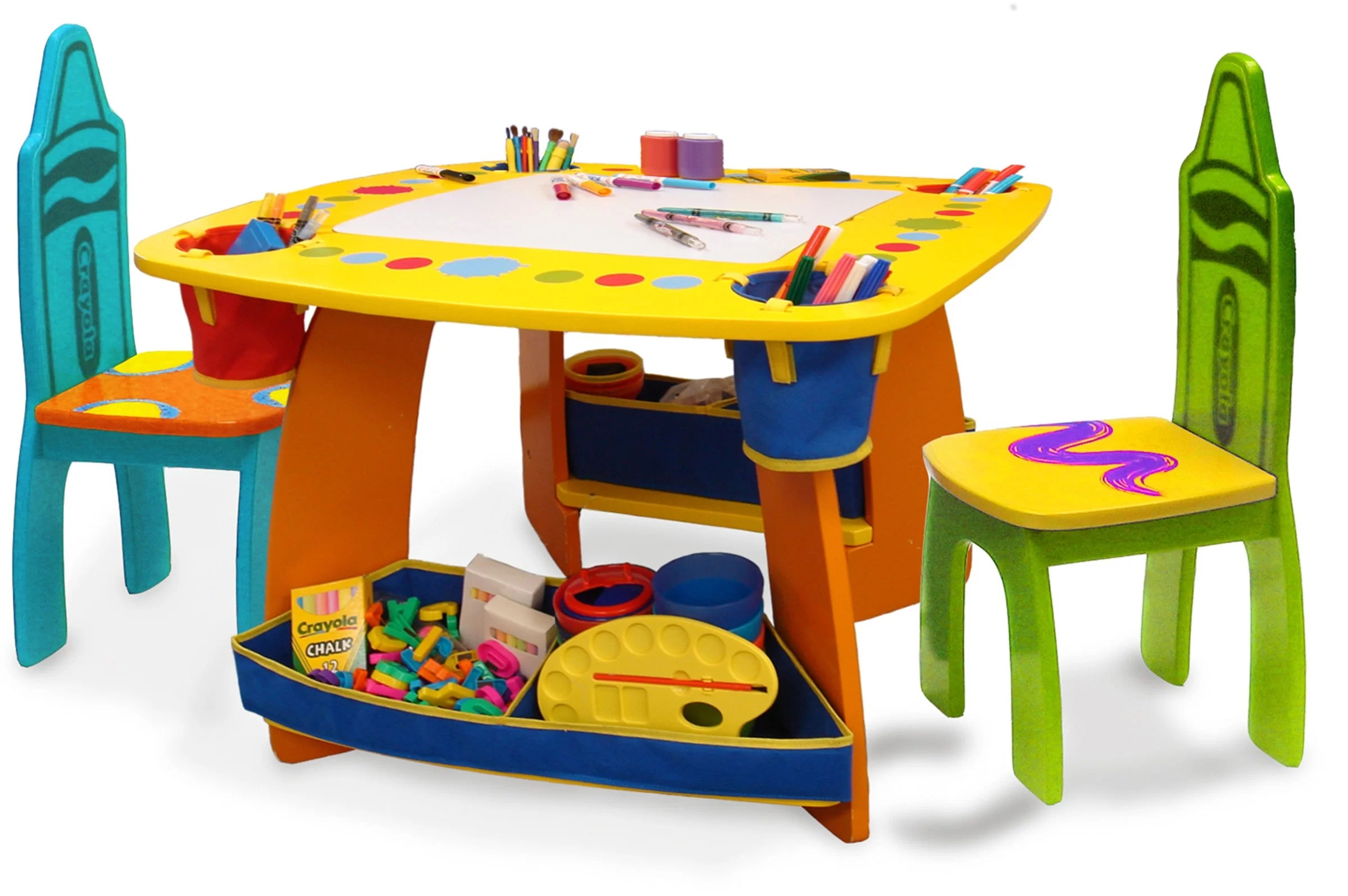 kids chair set indoor swing nz grow n up crayola 3 piece arts and crafts table reviews wayfair